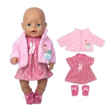 2020 Fit 18 inch Born New Baby Doll Clothes Accessories 43cm 3-piece Suit Rabbit Hair Band For Baby