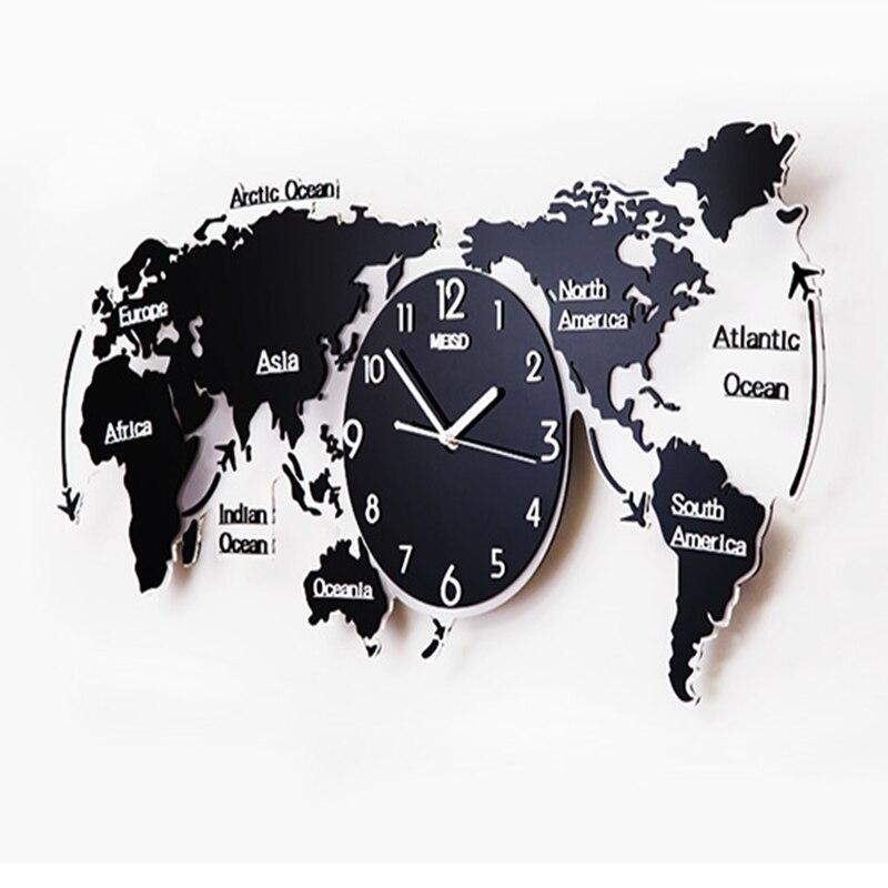Reloj de pared creativo, reloj para sala de estar, arte minimalista moderno, decoración a la moda, mapa del mundo nórdico, reloj para el hogar con personalidad