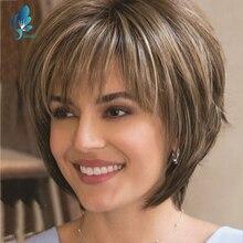 DANBO-peluca Natural marrón corta con flequillo para mujer, 130% de densidad, pelucas sintéticas resistentes al calor