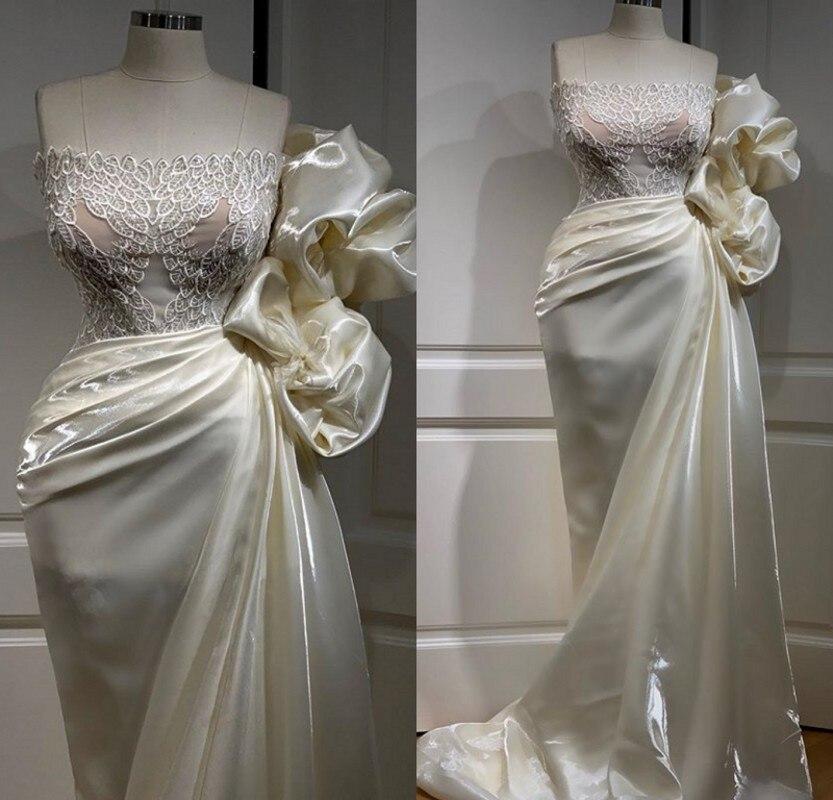 Nova chegada africano sereia branco vestidos de baile sem alças babados longo formal vestido de noite vestidos de festa