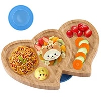 baby dinner plate love bamboo wooden kid feeding bowl dinnerware free childrens tableware with spill proof silicone suction cup