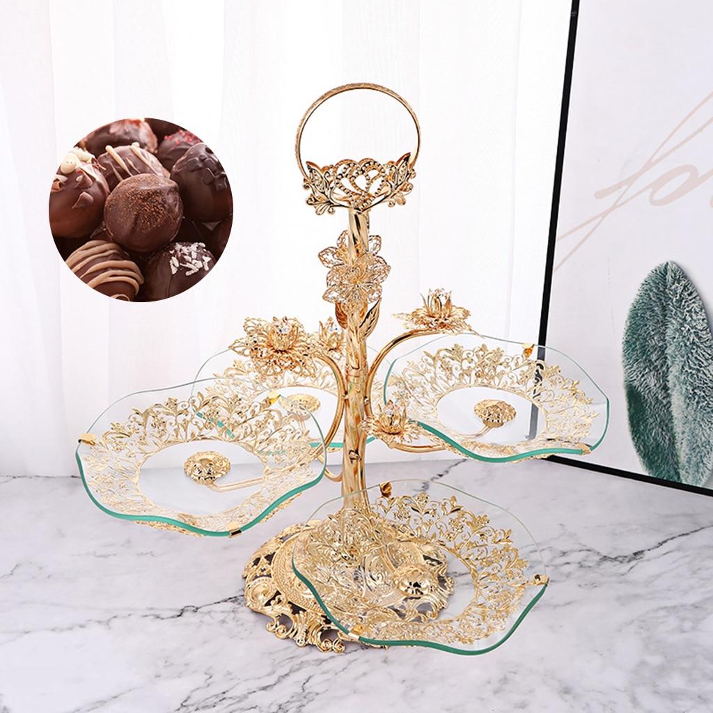 الفاخرة 3 الطبقة الزجاج صينية للفاكهة الحلوى كب كيك تخدم حامل صينية كونترتوب مكتب طبق تقديم الحلوى طبق عرض المطبخ المنزل