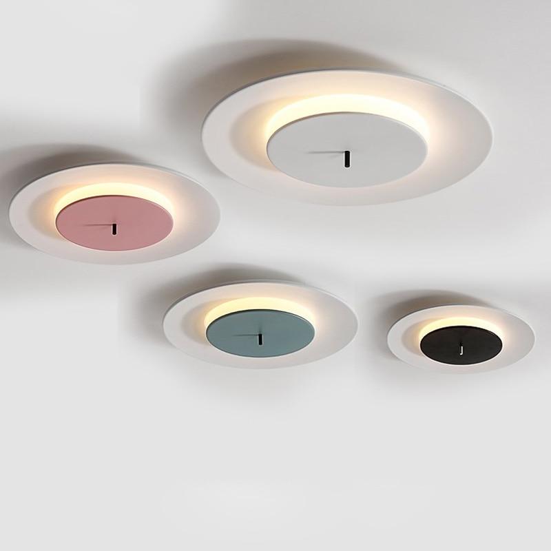 Lámpara de techo de estilo nórdico, lámpara de Sala, lámpara led Simple moderna para dormitorio, lámparas circulares de macarrón para hogar atmosférico