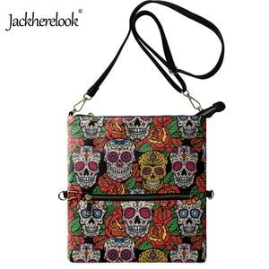 Jackherelook Female Tote Bag Funny Rose Skull Design Foldable Shoulder Bag for Lady Womens Luxury PU Crossbody Bag Bolsos Mujer