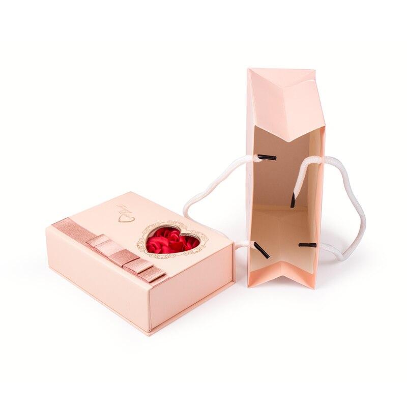 Caja de presentación de papel personalizada para joyería, collar, colgante, regalo, Rosa