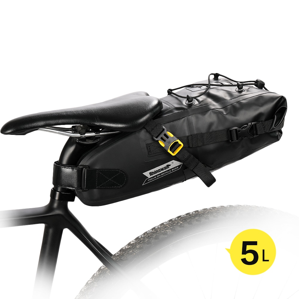 Rhinowalk-حقيبة سرج دراجة مقاومة للماء سعة 5 لتر ، عاكسة ، قابلة للطي ، خلفية ، لركوب الدراجات الجبلية