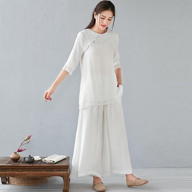 النمط الصيني ملابس الصيف للنساء 2021 تاي تشي موحدة اليوغا شيونغسام الأعلى و بنطال ذو قصة أرجل واسعة 2 قطعة مجموعات ملابس نسائية