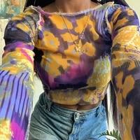 hot sale tie dye graphic tees long sleeve y2k croptop sexy autumn winter slim tshirt woman see through mesh fabric streetwear