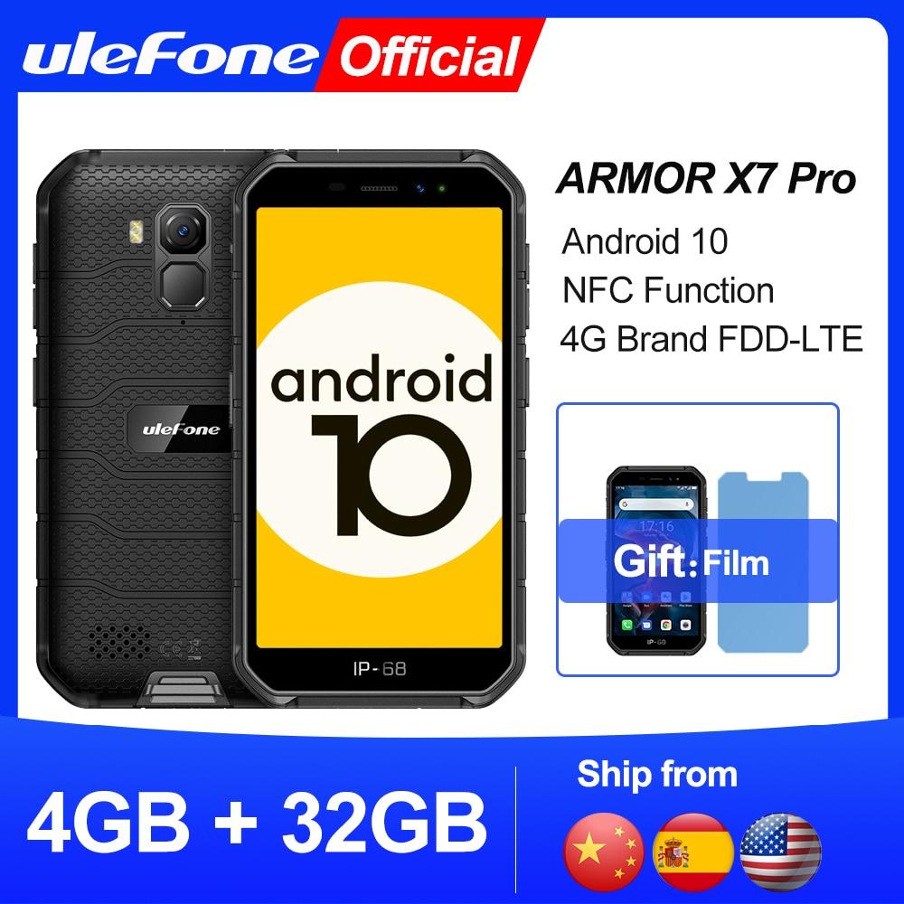 Перейти на Алиэкспресс и купить Ulefone Armor X7 Pro Смартфон Android10 Прочный телефон 4 ГБ оперативной памяти Смартфон Водонепроницаемый Мобильный телефон Сотовый телефон ip68 NFC 4G LTE 2.4 ...