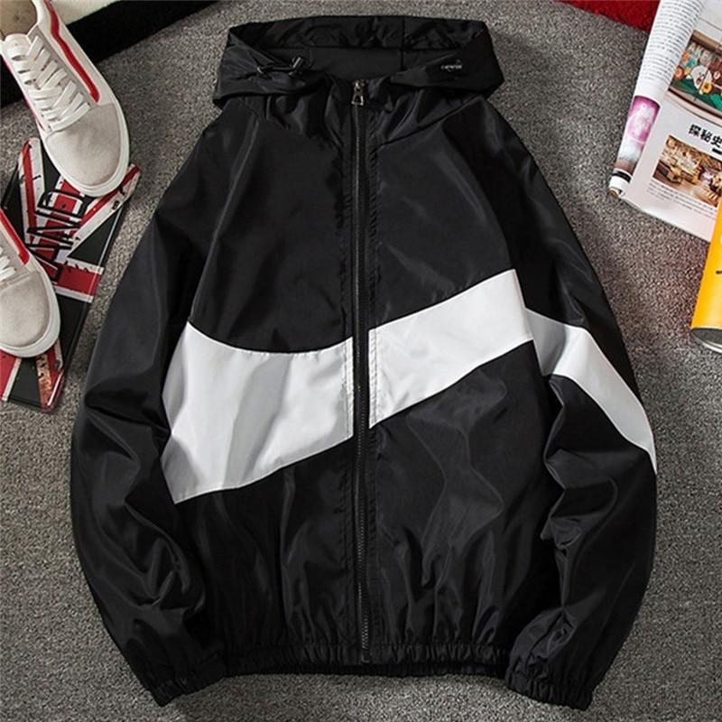 New Men Spring Fall Thin Hoodies Coats Long Sleeves Color Block Zipper Hooded Sweatshirts Jacket Male Black /White/ Gray Outwear
