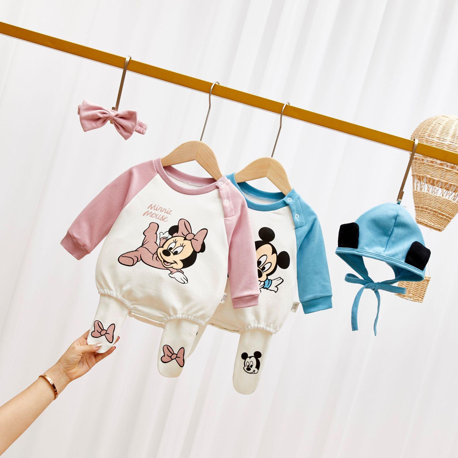 Newborn Baby Romper+Legging+Hat/Headband 3Pcs Set Girl Thicken Baby Boy Clothes Mickey Minnie Infant Jumpsuit One Piece Bodysuit