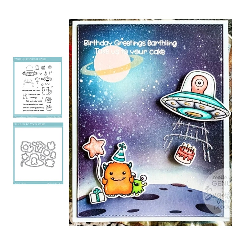 JC Spaceship Alien Monster Metal Cutting Dies and Rubber Stamps for Scrapbooking Letters Craft Stencil Make Album Sheet Decor