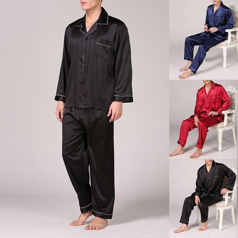 Mens Spring And Summer Imitation Silk Pure Color Pajamas Autumn Long-sleeved Home Wear Large Size