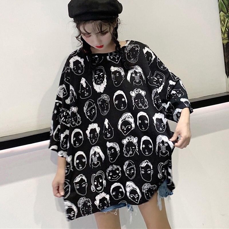 Camiseta holgada de manga corta con cuello redondo, Camiseta con estampado gráfico para mujer, ropa de gran tamaño, camisetas elegantes de estilo coreano