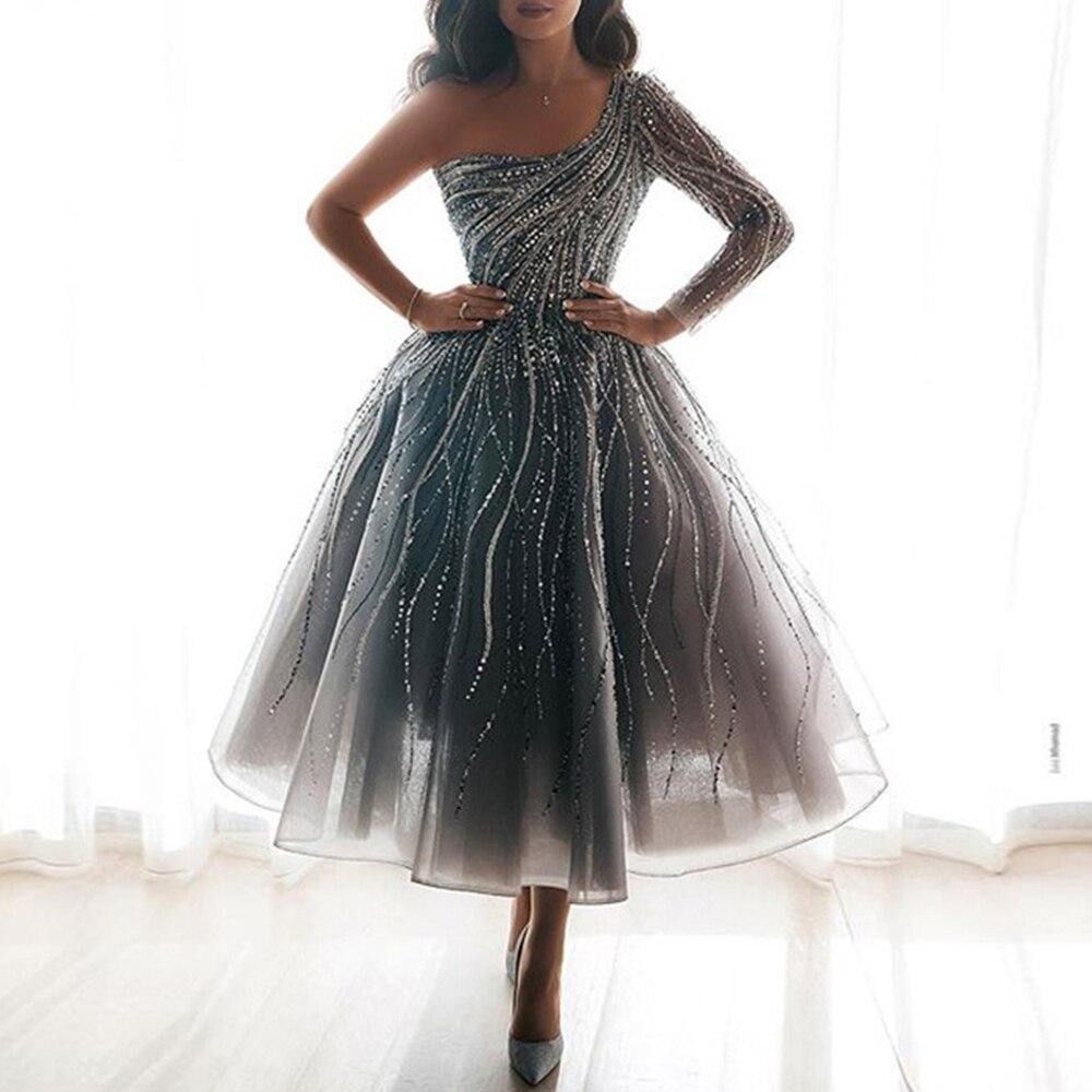 فستان صيفي غير متماثل مزين بالترتر وأكمام طويلة وكتف مكشوف ، ثوب كرة أنيق ، طول منتصف الساق ، ملابس سهرة رسمية ، 2020