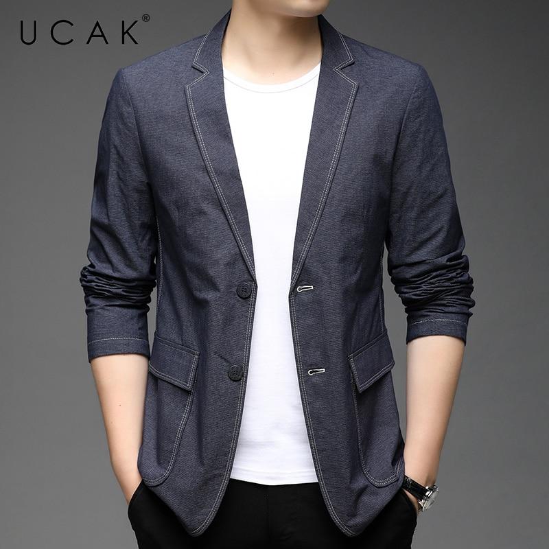 UCAK Brand New Arrival Spring Autumn Streetwear Men Blazer Clothing Casual Solid Color Single Breasted Blzaer Jacket U8258