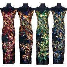 130CM bleu rouge vert or Sequin paon Phoenix plume dentelle tissu maille brodé robe Appliques coudre Patch pour décor de mariage