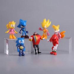 7 pçs/set sonic modelo de brinquedo pvc brinquedos sonic sombra caudas personagens animal ouriço figuras ação para crianças brinquedos conjunto
