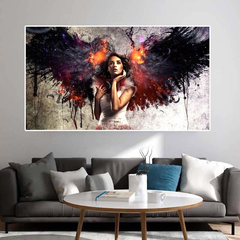 Alas blancas negras, chica Ángel, pintura en lienzo, pósteres, imágenes, pinturas decorativas de aceite pared artística, pósteres para pared, decoración del hogar