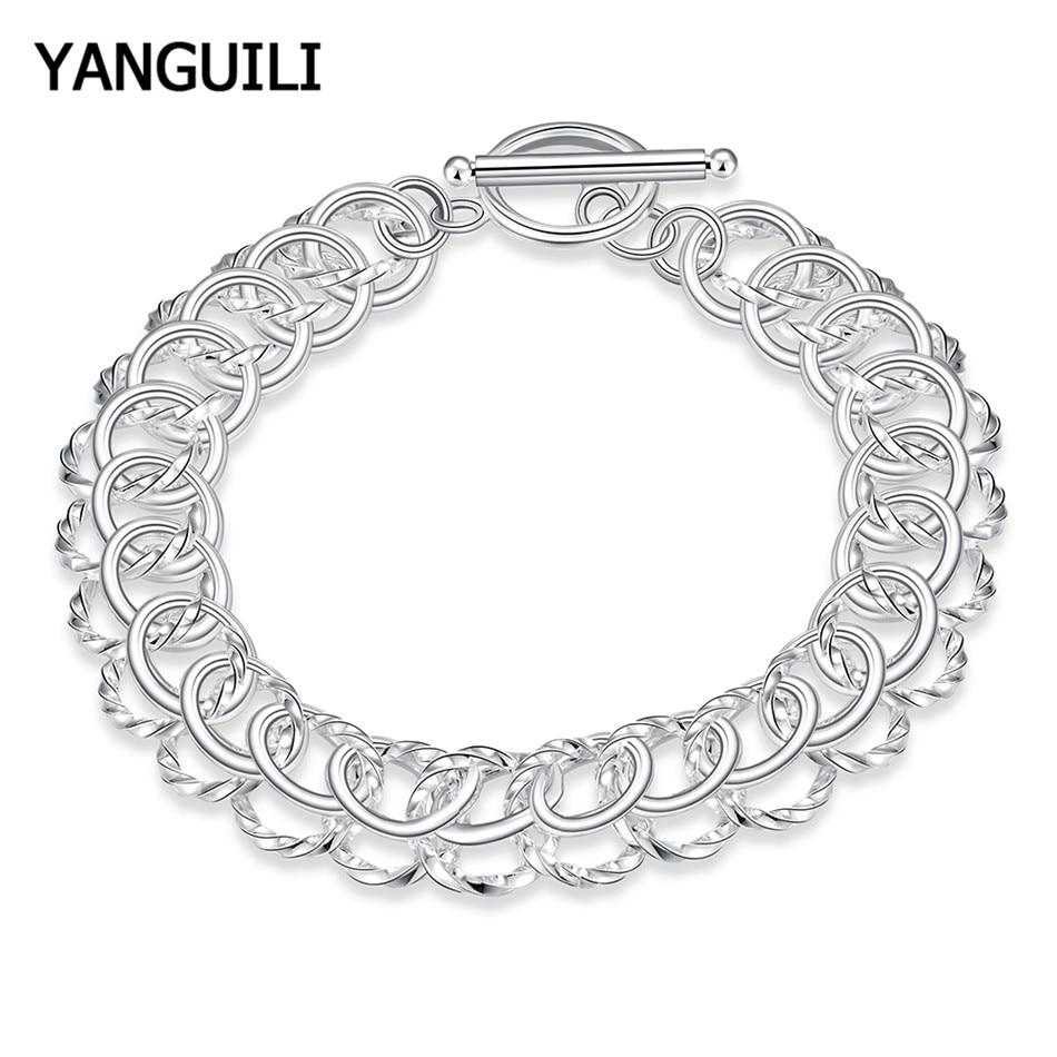 Mulheres Bracelet Bangle de Preços por atacado 925 Jóias de Prata Chain Link Pulseiras Para Homem Presente de Natal
