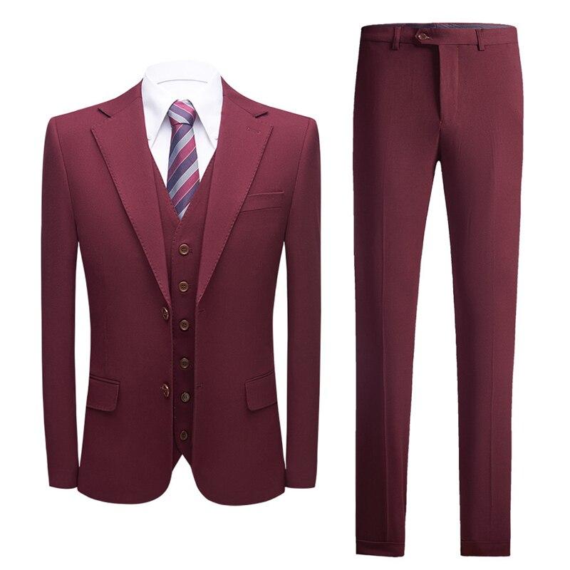 بورجوندي بدل زفاف للرجال سليم صالح رجالي بدلة عمل رسمية عالية الجودة ماركة الملابس سترة السراويل سترة