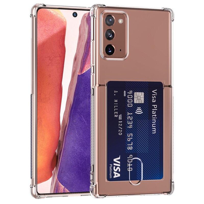 Funda blanda con tarjetero de TPU transparente para Samsung Note 20 S20 Ultra 10 A51 A71 A50 A70 S10 S9 S8 Plus