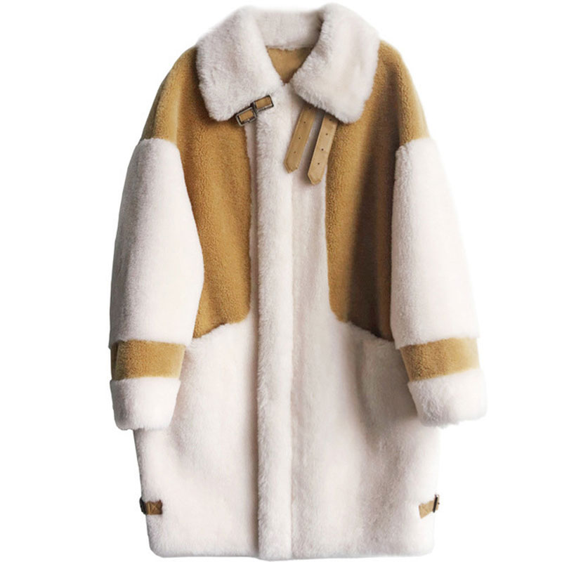 Fashion Faux Fur Long Thick Winter Coat Women Warm Full Sleeve Patchwork Coat Soft Hooded Loose Overcoat Female Outwear Jackets