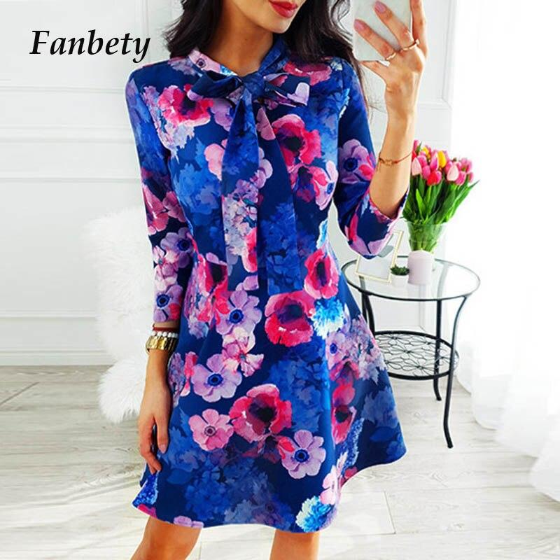 Fanbety Office Lady Bow tie Autumn dress Women Geometric batterfly Print long sleeve Mini Dress Elegant slim A Line Party Dress