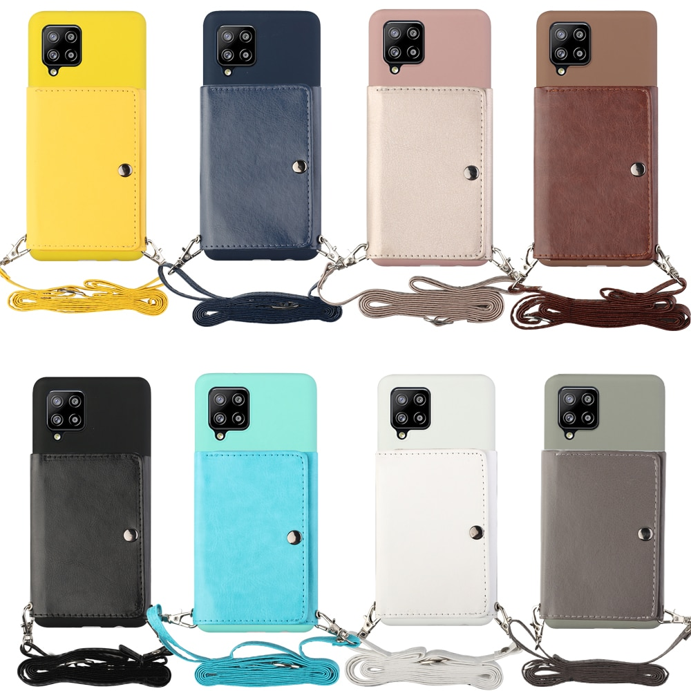 For Samsung S8 S9 S10 S20 S21 Note 8 9 10 20 Plus Ultra Wallet Phone Case Back Stand Cover Shell Long Diagonal Shoulder Strap