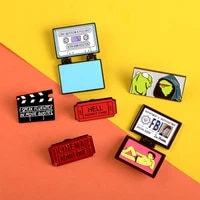 kirk fbi homer fold enamel pin movie record board ticket brooches frog kermit lapel pin badges cartoon shirt bag jewelry gift
