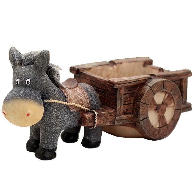 Burro carrito de tirón Cenicero de resina artesanía decoración ornamento regalo para el hogar sala de estar