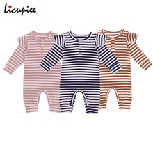 Newborn Ribbed Stripe Romper, Infant Striped Rompers Long Sleeve Round Neck Ruffle Jumpsuit Casual S