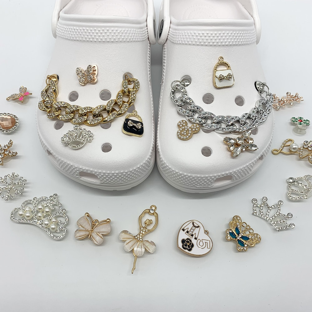 1pc Metal Crown Butterfly Rhinestone Pearl Shoe Charms Accessories Fit JIBZ Croc Garden Shoe Sandals