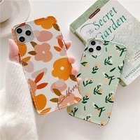 fashion fresh flowers phone case for iphone 11 pro max x xr xs max case for iphone 8 7 plus cover cute leaves luxury soft case