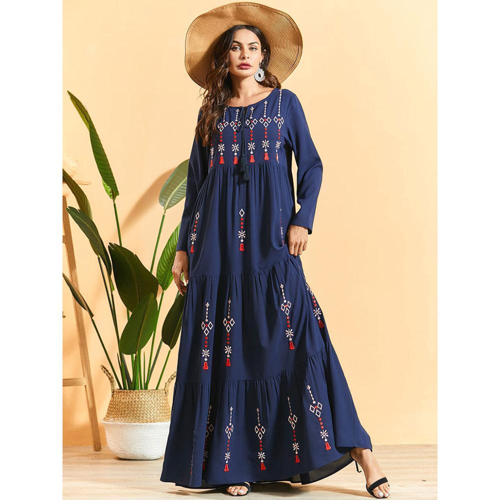 Осеннее Вышитое Платье макси с длинным рукавом размера плюс кисточкой шеи абайя женщин Рамадан Кафтан Дубай исламский халат judaic платье