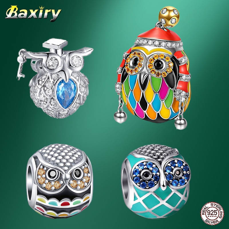 2021 new 100% 925 Sterling Silver charms Fashion beads for jewelry making silver original Enamel charm Fine Owl bead