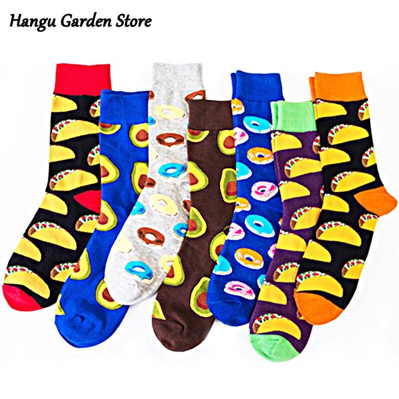 Качественные мужские носки красочные веселые забавные носки с узором еда пончики хот-дог повседневные Длинные мужские носки для улицы в ст...