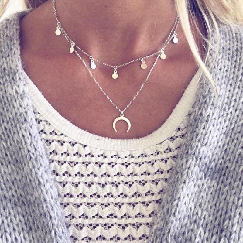 Sumeng nova moda colar multi-camada wafer lua colar venda de jóias colar de cor prata para mulher colar atacado