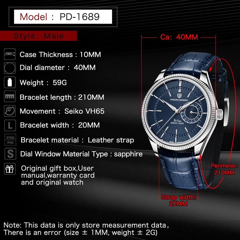 2021 New PAGANI Design Quartz Watch Men's Luxury Leather Watch Sapphire Stainless Steel 200m Men's Waterproof Clock Reloj Hombre enlarge