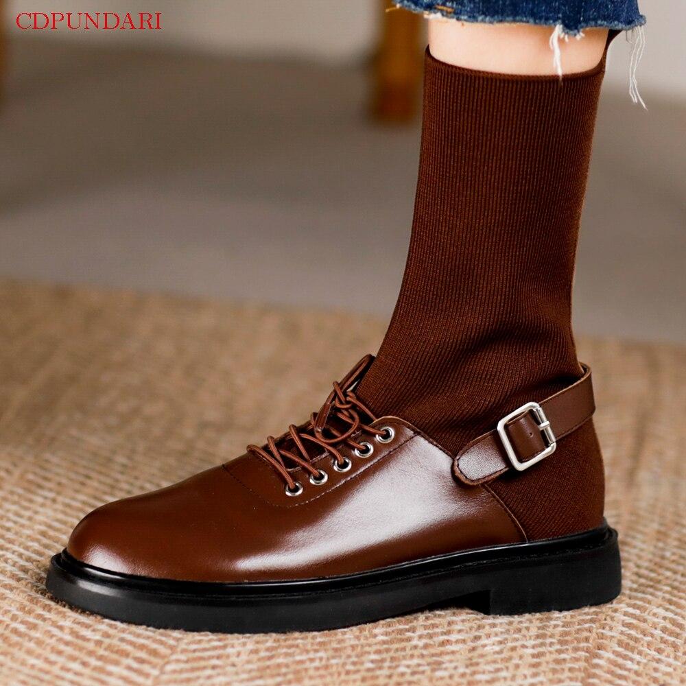 Black Low Heels Ankle Boots For Women Genuine Leather Platform Boots Ladies Autumn Winter Punk Short Boot Shoes Bottines Femme