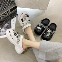women sandals summer hole slippers non slip beach slides platforms skeleton metal chain increase shoes for women sandalias mujer