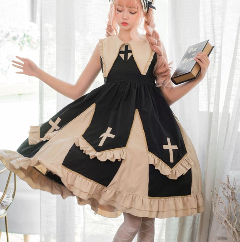 Original sweet lolita dress vintage lace cross peaked collar kawaii girl lolita jsk victorian dress cosplay gothic princess loli