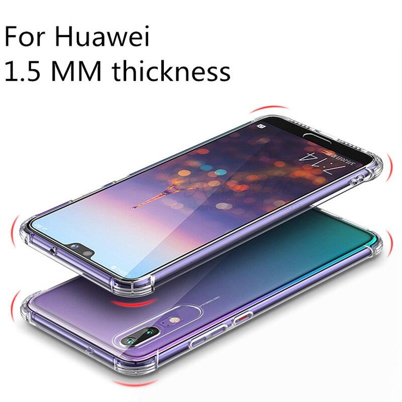 Para Huawei Companheiro 30 p20 p30 pro lite Caso Anti-queda soft case silicone TPU para Huawe Honra 20 pro 10 Lite tampa Transparente 1.5MM de espessura