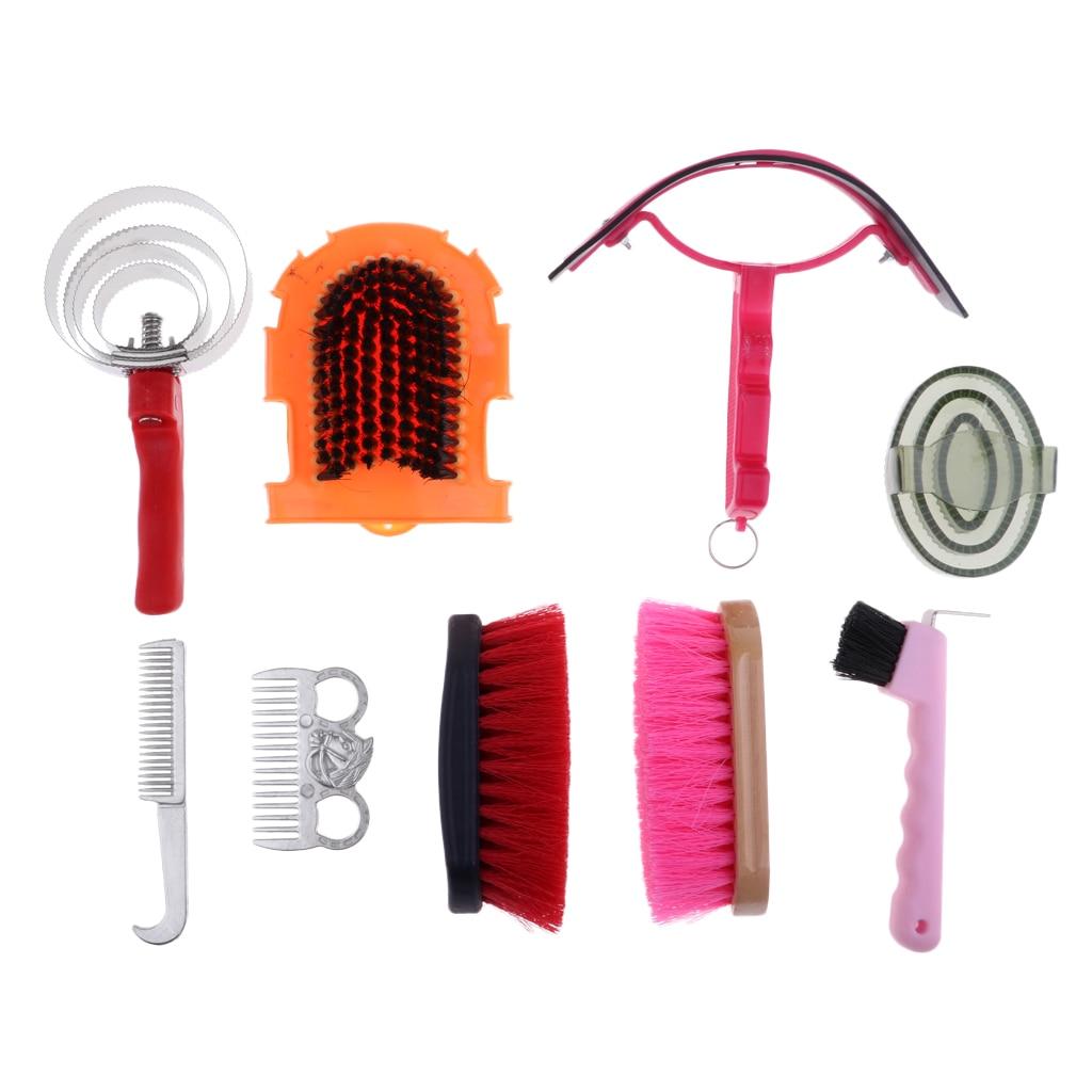 9 pces cavalo suor raspador & mane & cauda pente escova cavalo & cuidado equestre grooming kit produtos de cuidados com o cavalo equipamento de limpeza