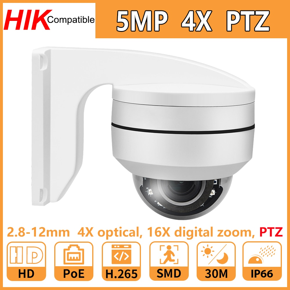 3mp ir dome camera 1 2 8 sony vandalproof 2 8 12mm zoom with ir cut poe p2p remote privacy mask etc Hikvision Compatible 5MP PTZ Dome IP Camera PoE 2.8mm-12mm ZOOM Security CCTV IR 30M IP66 H.265 Plug & Play With Bracket Cam