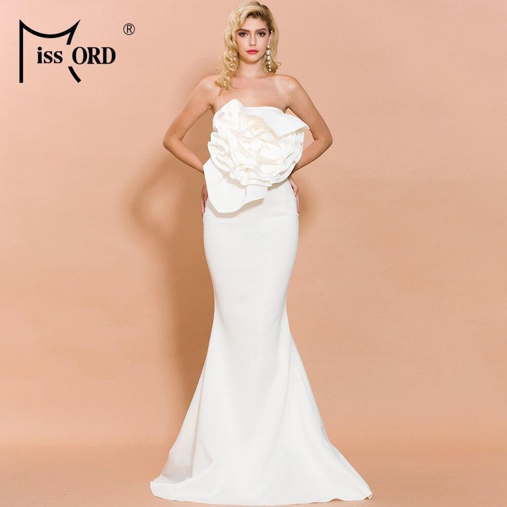 Missord-body sin hombros, Sexy de verano del 2020 para mujer, Vestido largo de Color sólido con flores, FT19608-1