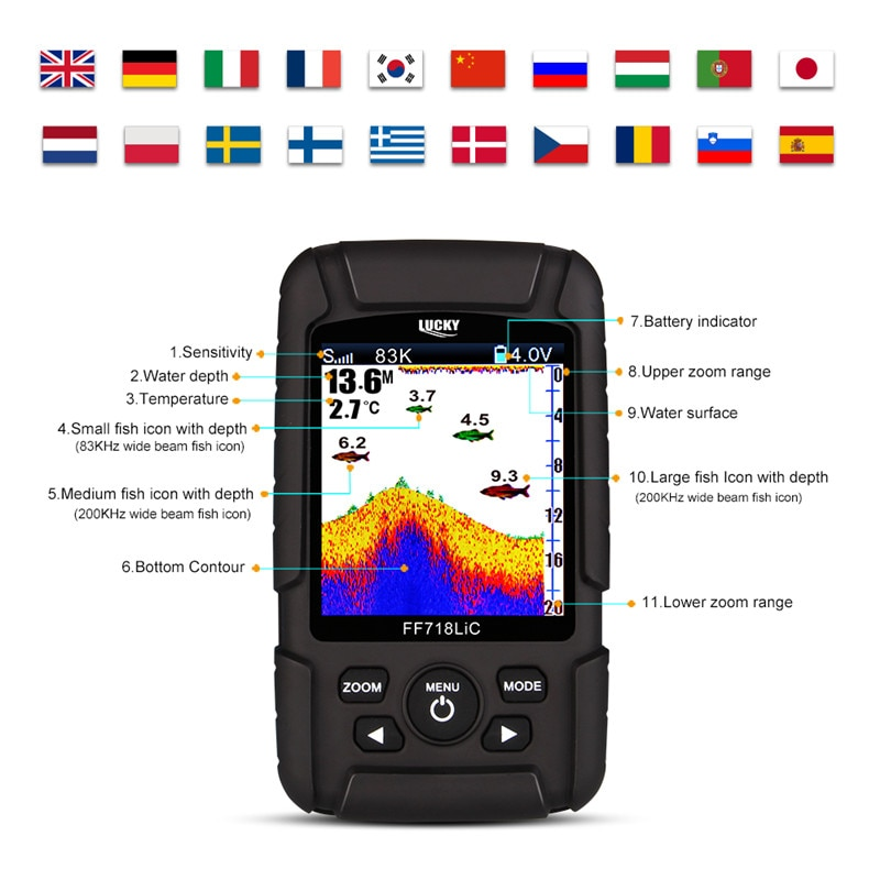 LUCKY FF718LiC depth Fish finder Transducer 2-in-1Wired & Wireless Sensor Portable Waterproof echo sounder for All Fishing Types enlarge