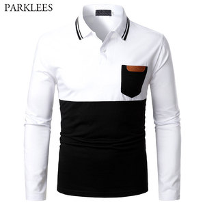Patchwork Mens Polo Shirt 2021 Brand New Pu Leather Men Polos Homme Casual Slim Fit Pocket Camisas de Hombre Male Jersey Tops