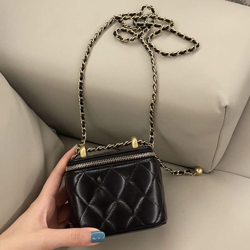 العلامة التجارية الفاخرة خروف الجلد الحقيقي صندوق صغير الكرة الذهبية الصغيرة على سلسلة حقائب كروسبودي للنساء الموضة الفاخرة