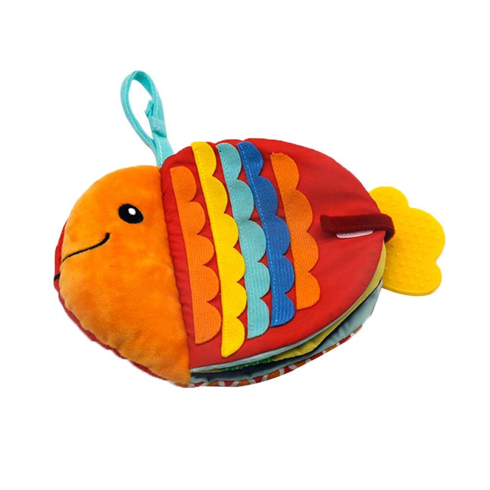 Креативная маленькая рыбка, тканевая книга с мультяшными морскими животными, кукла для раннего развития ребенка, Успокаивающая игрушка, моющаяся тканевая книга для вдохновения